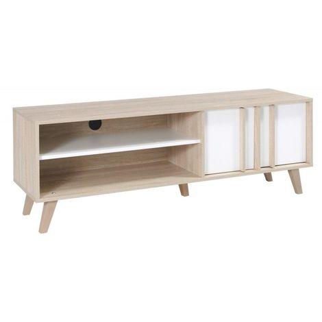 meuble tv hifi de type scandinave de la collection malmo coloris blanc mat sonoma blanc