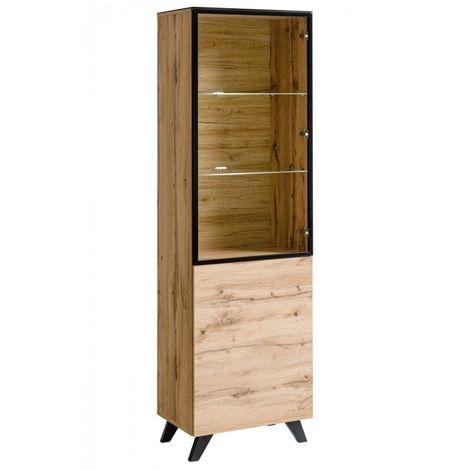 ensemble meubles de salon tino compose de trois meubles et d une etagere de style industriel marron