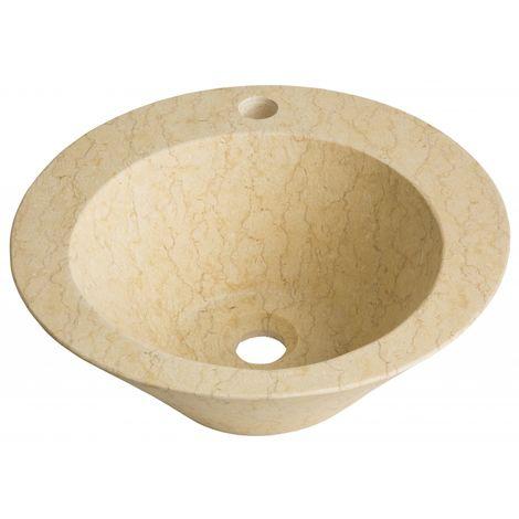 vasque a poser conique en pierre naturelle beige