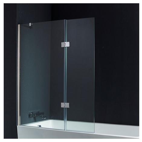 pare baignoire 2 volets 120 140 cm verre 10 mm