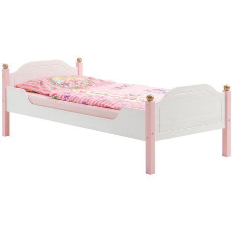 lit pour enfant isabella couchage 90 x 200 cm 1 personne ideal pour une fille en pin massif lasure blanc et rose