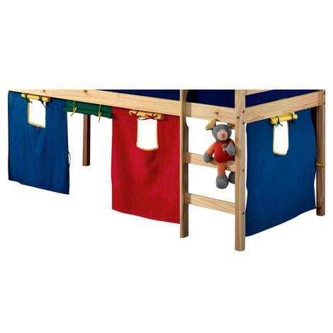 rideaux erik pour lit superpose ou lit sureleve cabane tente en coton 4 couleurs rouge vert bleu et jaune
