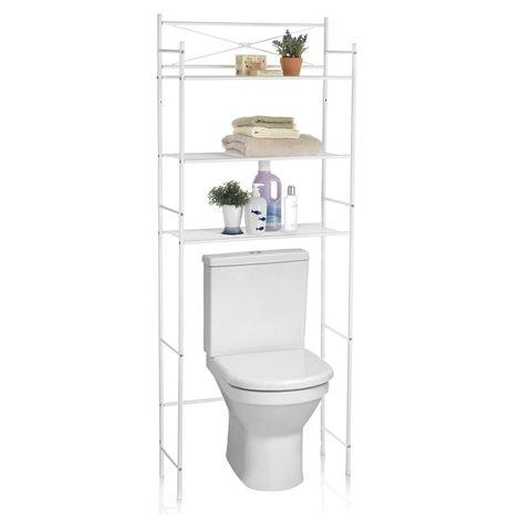Etagere De Salle De Bain Marsa Meuble De Rangement Au Dessus Des Toilettes Wc Ou Lave Linge Avec 3 Tablettes En Metal Laque Blanc 93939