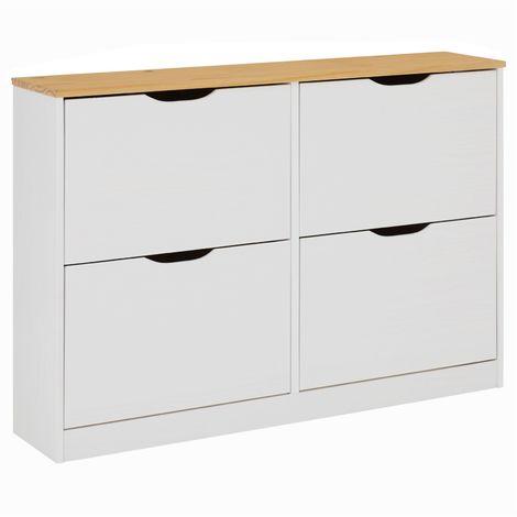 meuble a chaussures basil armoire avec 2 x 2 abattants rangement pour 24 paires en pin massif lasure blanc et brun
