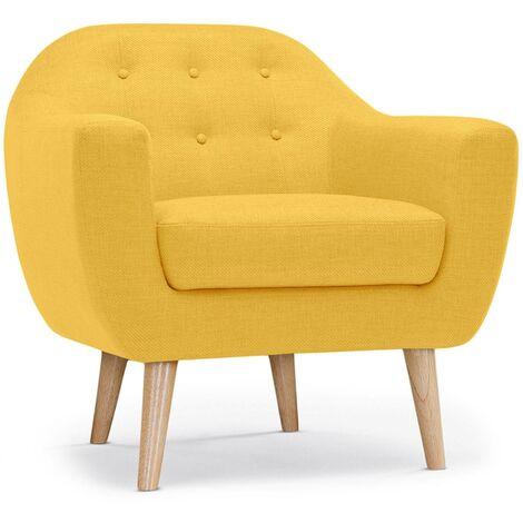 fauteuil scandinave liv en tissu jaune