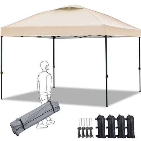 pop up gazebo canopy patio instant shelter with wheeled carry bag and 4 sand bags better air circulation on the top 3x3m beige