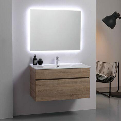 armoire de salle de bains murale moderne 90cm puits en chene avec miroir sole