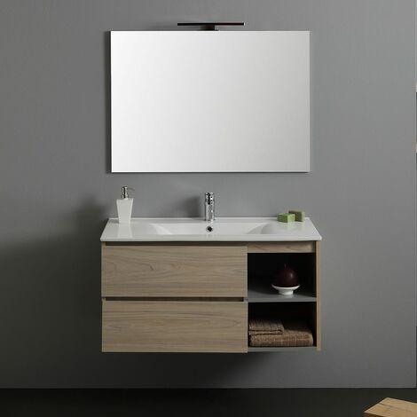 meubles de salle de 90 cm avec tiroir et cabinet a jour modele berlin lampe a led