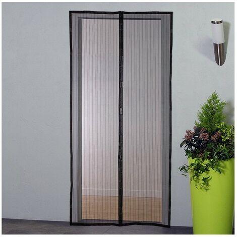 moustiquaire rideau magnetique pour porte h220xl100 cm noir