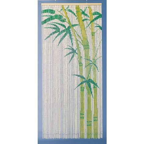 rideau de porte bambou peint motif bambou morel 90 x 200 cm beige