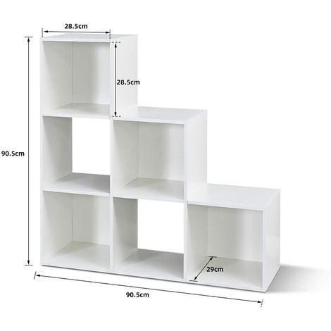 bibliotheque etagere escalier a 6 compartiments meuble de rangement bois blanc 90 5 x 29 x 90 5cm mondeer blanc