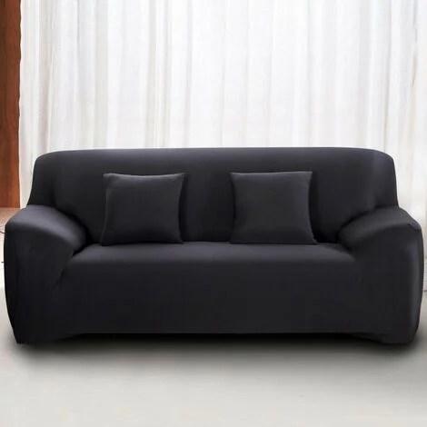 housse de canape 3 places avec accoudoir extensible revetement de canape pour salon chambre noir mondeer