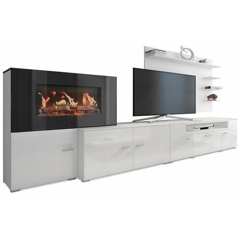 meuble salon cheminee electrique 5 niv de flamme blanc mat laque blanc brillant 290x170x45