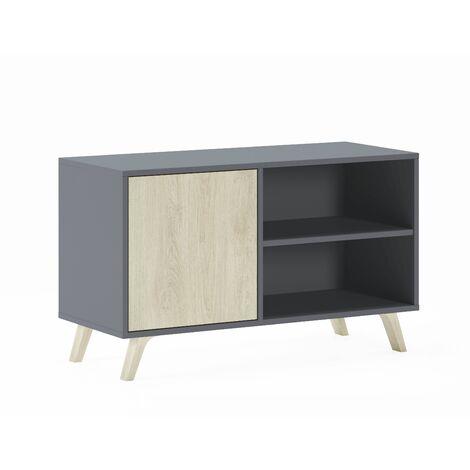 meuble tv 100 avec porte a gauche wind gris anthracite porte puccini 95x40x57cm