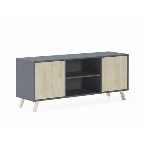 meuble tv 140 avec 2 portes wind gris anthracite portes puccini 140x40x57cm
