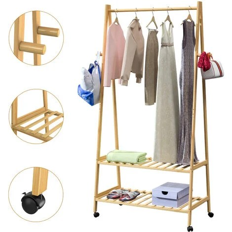 wooden clothes rack with castors bamboo stand 152x70x43 cm 4 hooks 2 shoe storage shelves clothing free standing
