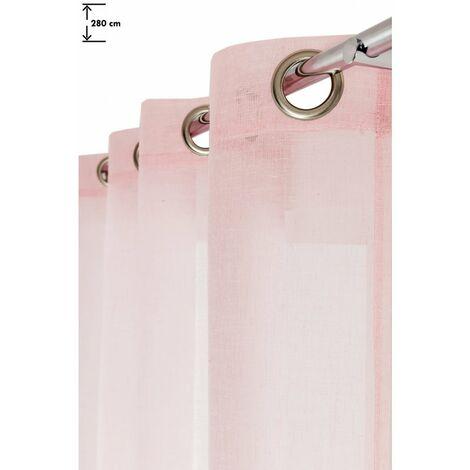 voilage 140 x 280 cm a oeillets effet lin grande hauteur uni rose rose rose