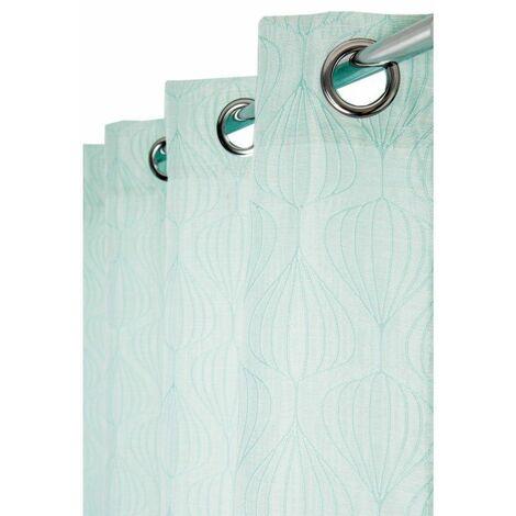 rideau tamisant 140 x 260 cm a oeillets jacquard avec motifs geometriques vert d eau vert vert