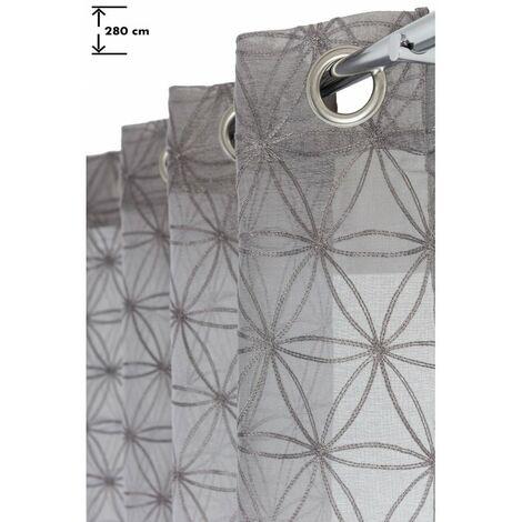 voilage 140 x 280 cm a oeillets grande hauteur brode motifs geometriques gris gris gris