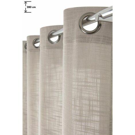 rideau tamisant 140 x 280 cm a oeillets grande hauteur effet lin trame uni argile naturel naturel