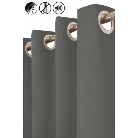 rideau occultant thermique phonique 135 x 260 cm a oeillets uni gris fonce gris gris