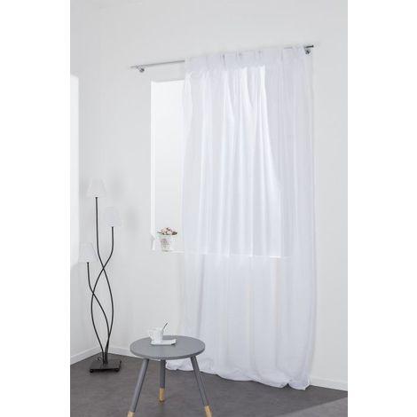 rideau voilage 140 x 280 cm grande hauteur a pattes cachees tete flamande blanc blanc
