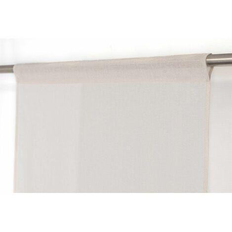 charmant vitrage effet lin a passe tringle 70 cm x 200 cm style nature chic uni mate ecru ecru