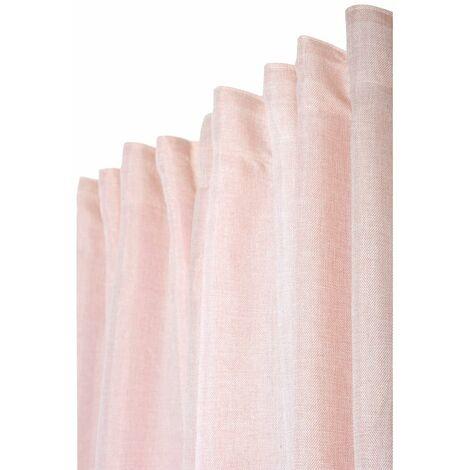 rideau 200 x 270 cm a galon fronceur grande largeur chine effet lin naturel rose rose rose