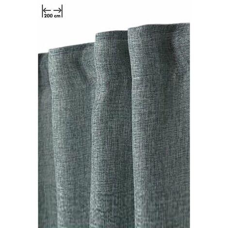 rideau 200 x 270 cm a galon fronceur grande largeur effet lin chine naturel vert vert vert