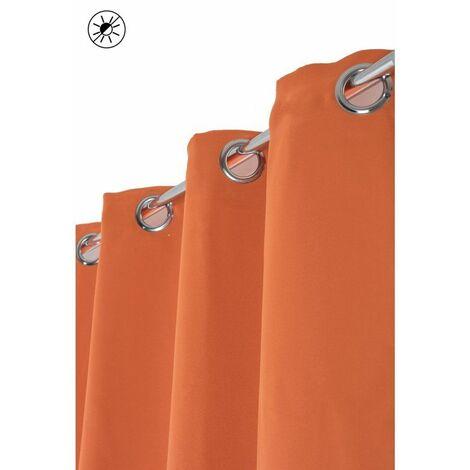 rideau occultant 140 x 240 cm a oeillets brillant effet satine uni orange orange orange