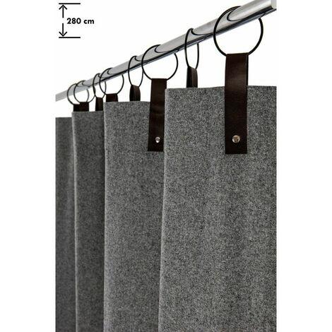 rideau 140 x 280 cm a anneaux grande hauteur contemporain style industriel feutrine gris gris gris