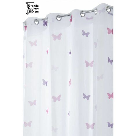 voilage 140 x 280 cm a oeillets grande hauteur a motif imprime papillons blanc rose violet violet violet