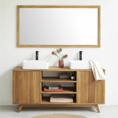 meuble de salle de bain en bois de teck 160 cm naturel