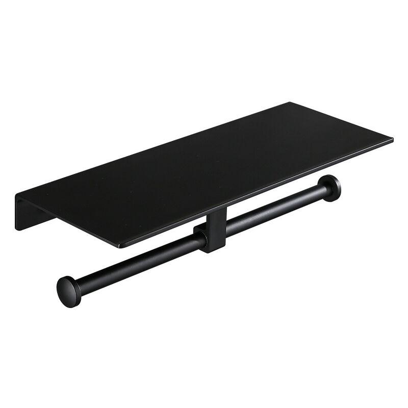 kueatily porte rouleau de papier toilette hygienique sans percage avec etagere de telephone portable support mural double pour salle de bains noir