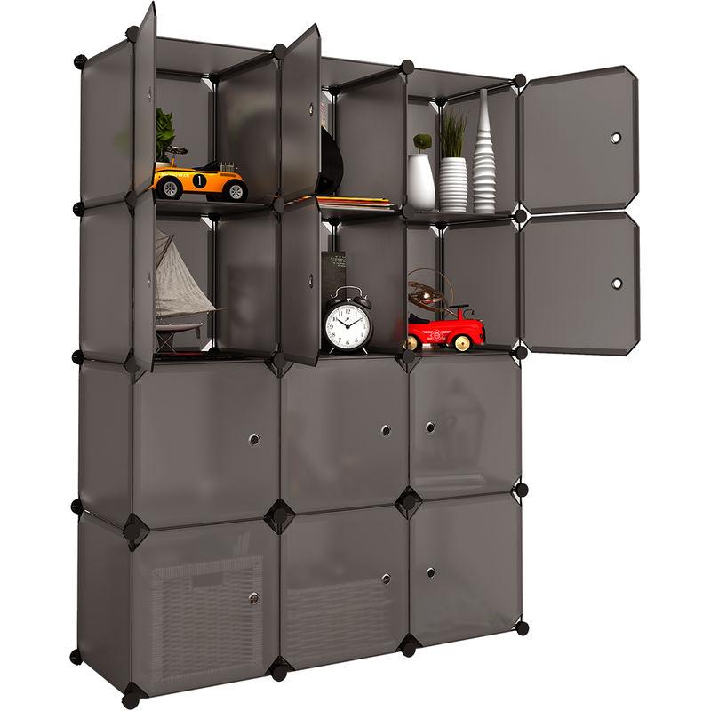 langria 12 cubes armoire a vetement penderie en plastique avec portes garde robe de rangement etagere cabine modulable