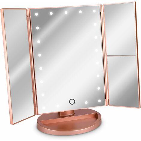 Litzee Miroir Cosmetique Led Miroir Sur Pied Pliable Miroir De Maquillage Eclaire Miroir De Maquillage 2 Fois 3 Fois Miroir Grossissant En Or Rose Li001825