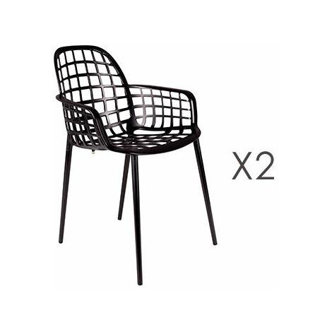 lot de 2 chaises de jardin en aluminium noir kuip