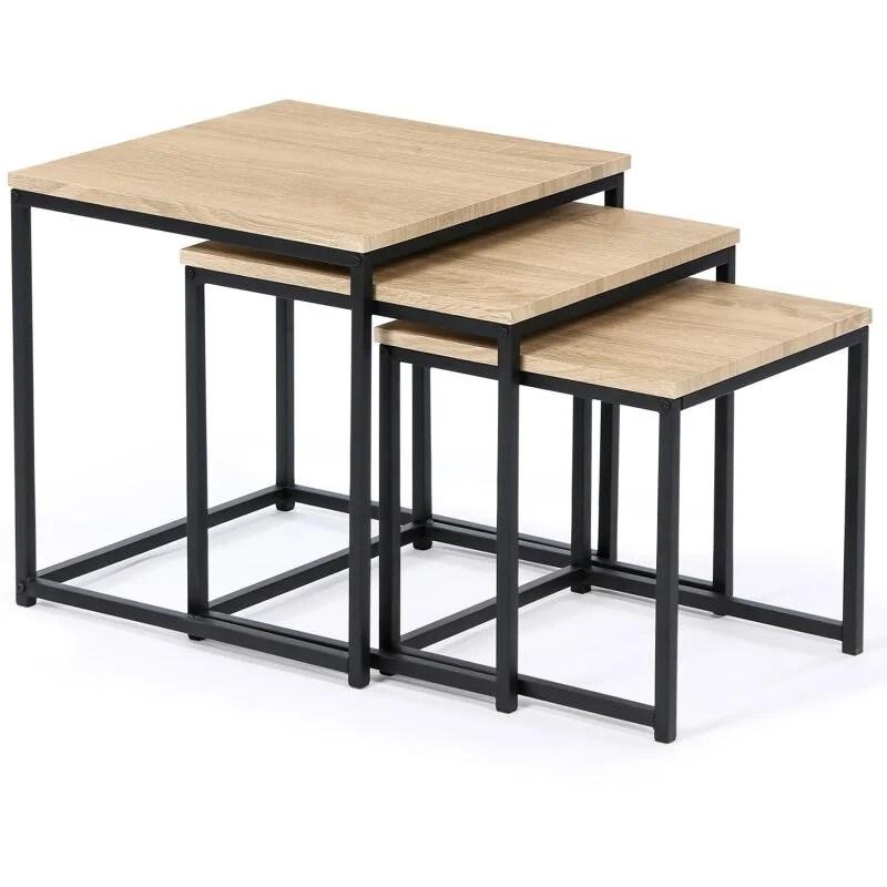 lot de 3 tables basses gigognes detroit 35 40 45 design industriel
