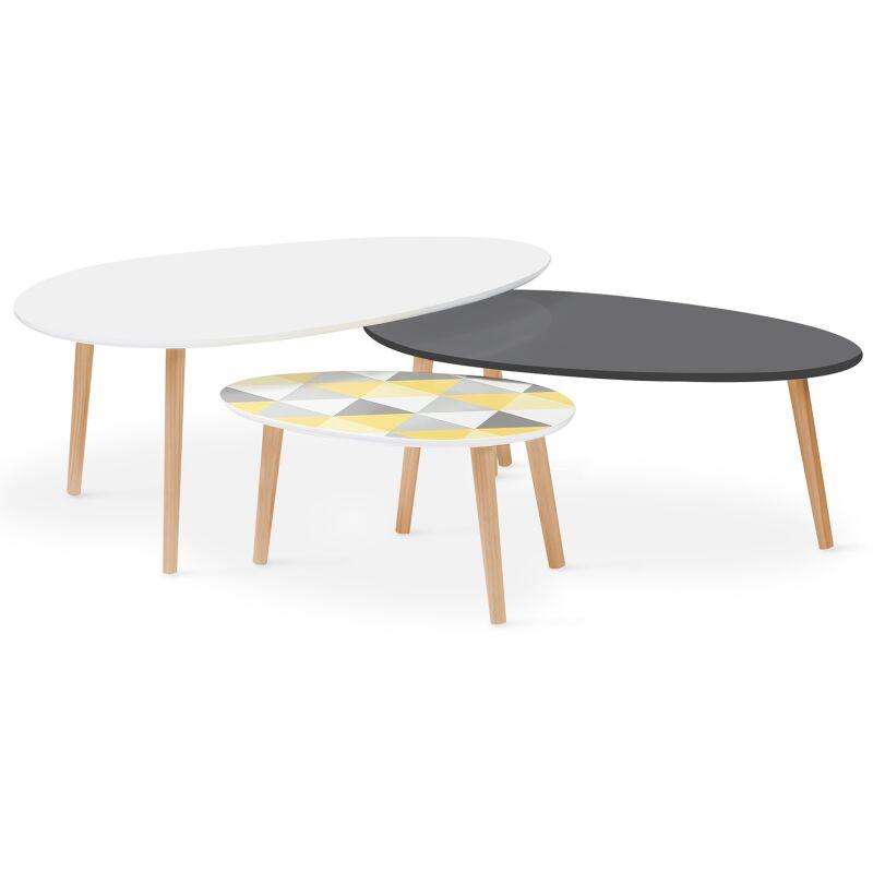 lot de 3 tables basses gigognes laquees blanc gris motifs graphiques