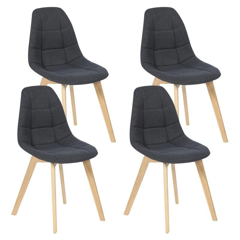 lot de 4 chaises gaby grises en tissu pour salle a manger
