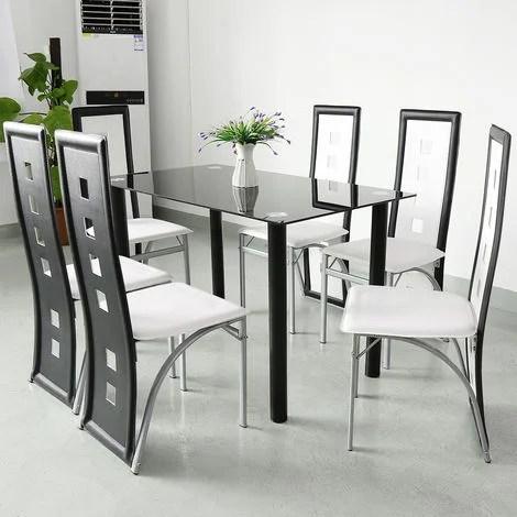 lot de 6 chaises de salle a manger simili blanc noir style contemporain six trous
