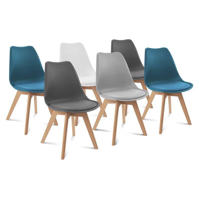 lot de 6 chaises sara mix color blanc gris clair bleu canard x2 gris fonce x2