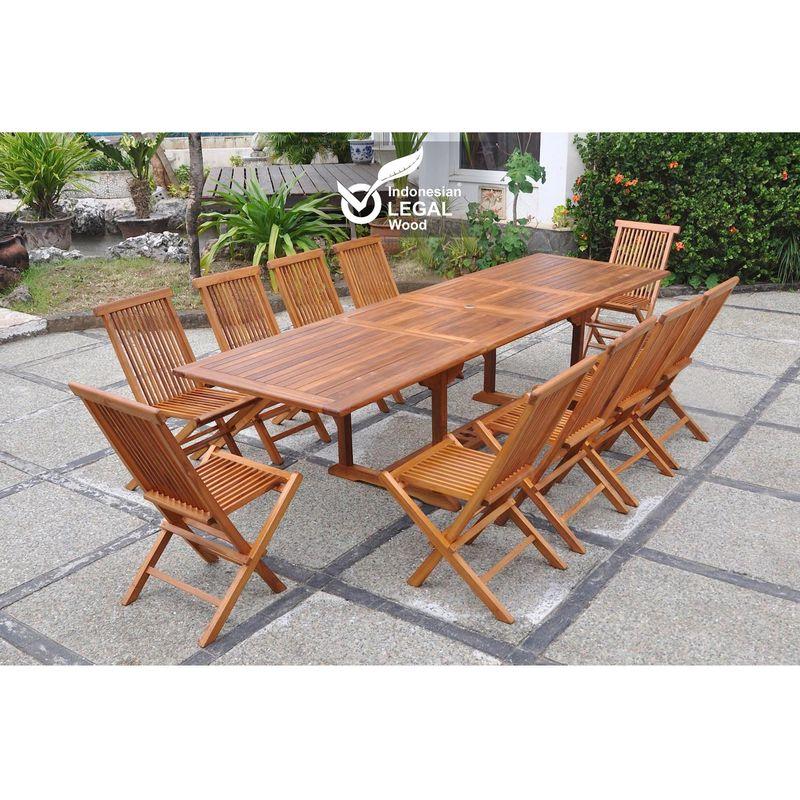 lubok salon de jardin teck huile 10 personnes table rectangle 10 chaises