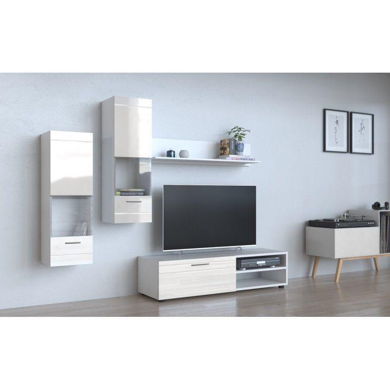 manila ensemble meuble tv moderne salon sejour 5 elements mur tv avec rangements meuble bas 2 vitrines colonnes etagere blanc blanc