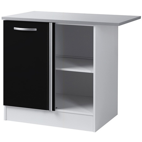 meuble bas d angle de cuisine noir 100 cm dim h 86 x l 100 x p 60 cm