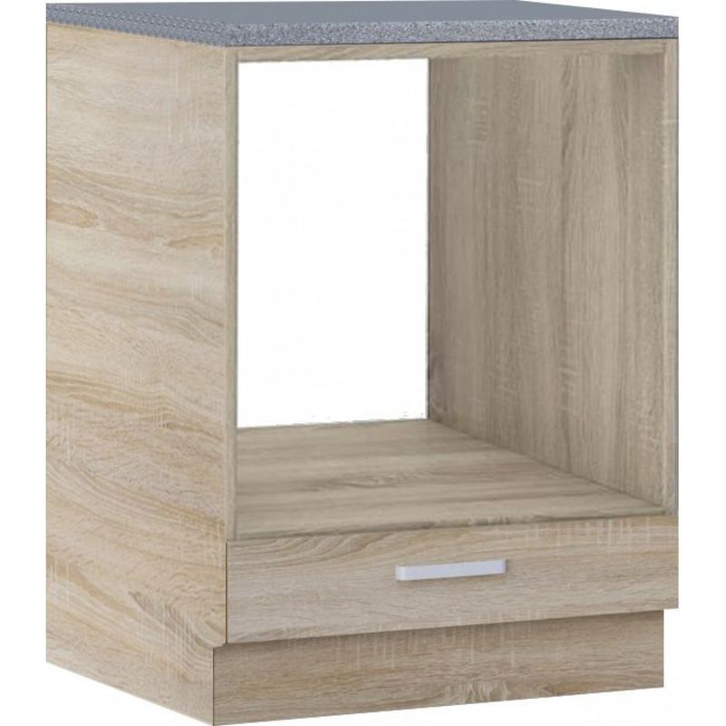meuble bas de cuisine style contemporain pour four 60 cm avec 1 tiroir coloris sonoma