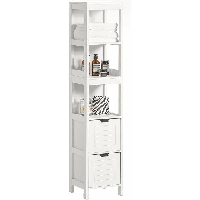 meuble colonne de salle de bain armoire toilette haute 4 etageres et 2 tiroirs blanc sobuy frg126 w