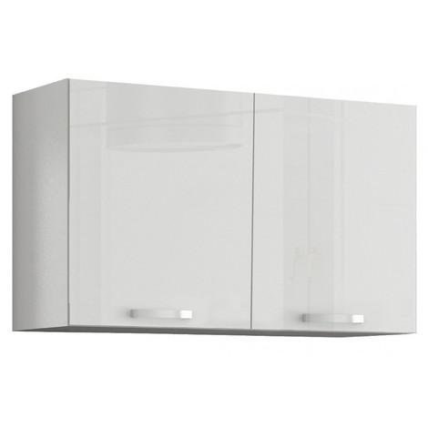 meuble de cuisine design 100 cm avec 2 portes coloris blanc mat et blanc laque