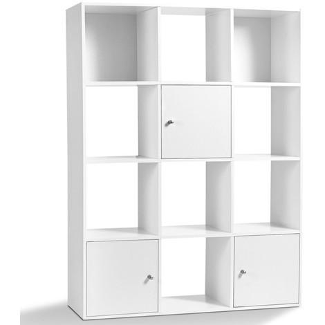 meuble de rangement cube rudy 12 cases bois blanc avec portes