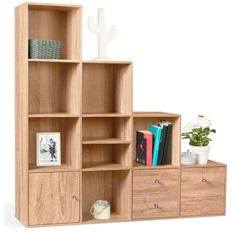 meuble de rangement escalier 4 niveaux bois facon hetre avec porte et tiroirs